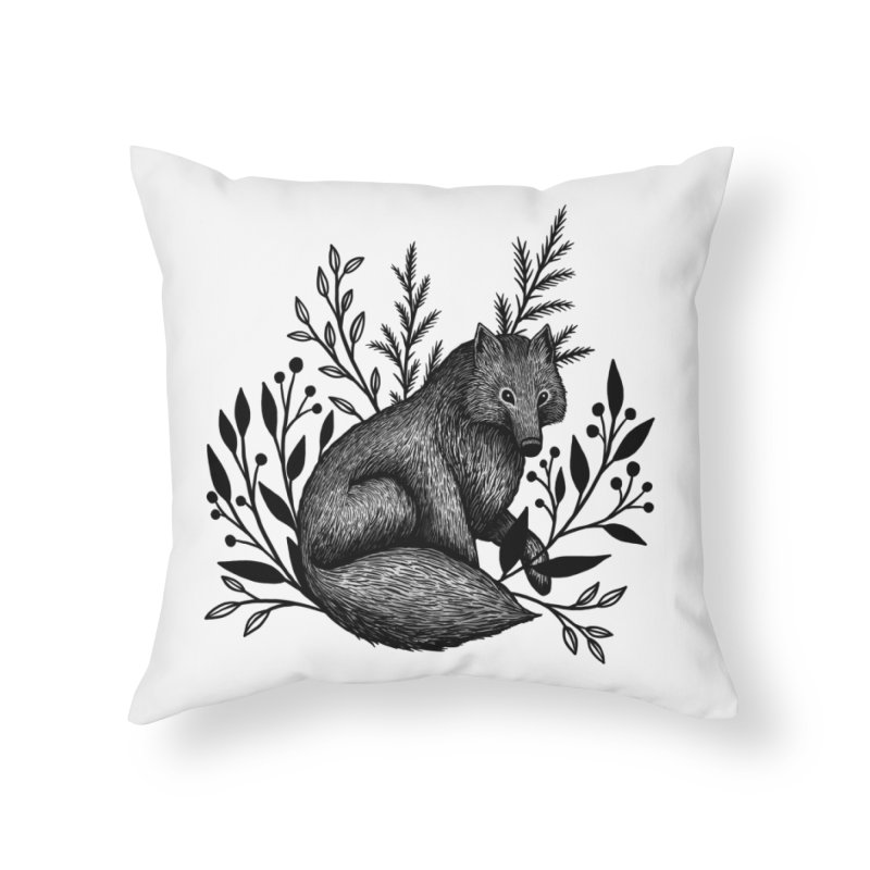 Woodland Wolf Home Throw Pillow by Thistle Moon Artist Shop