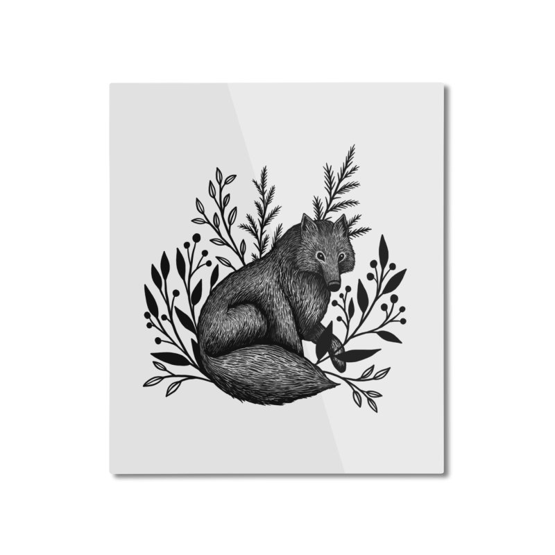 Woodland Wolf Home Mounted Aluminum Print by Thistle Moon Artist Shop