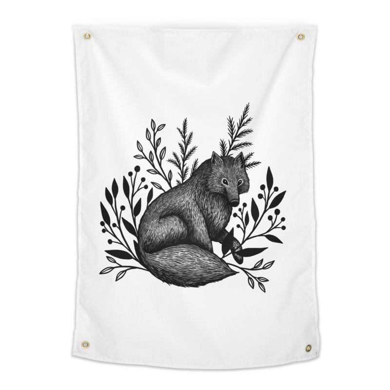 Woodland Wolf Home Tapestry by Thistle Moon Artist Shop