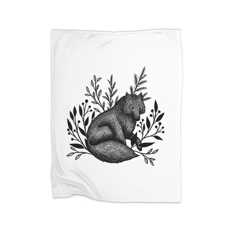 Woodland Wolf Home Fleece Blanket Blanket by Thistle Moon Artist Shop