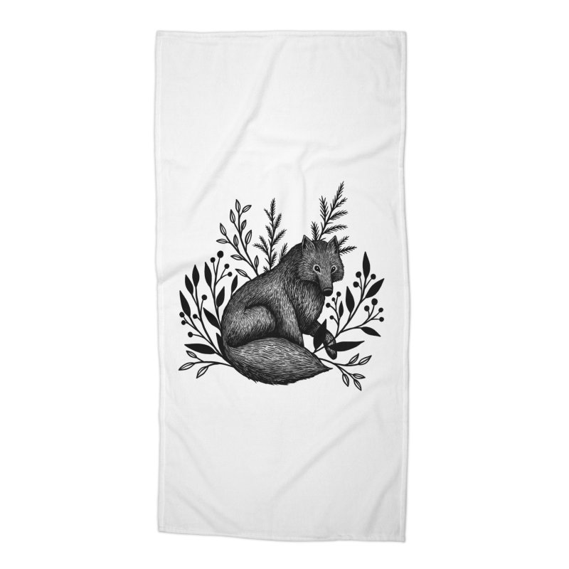Woodland Wolf Accessories Beach Towel by Thistle Moon Artist Shop