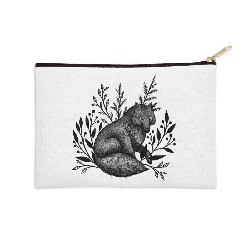 Woodland Wolf Accessories Zip Pouch by Thistle Moon Artist Shop