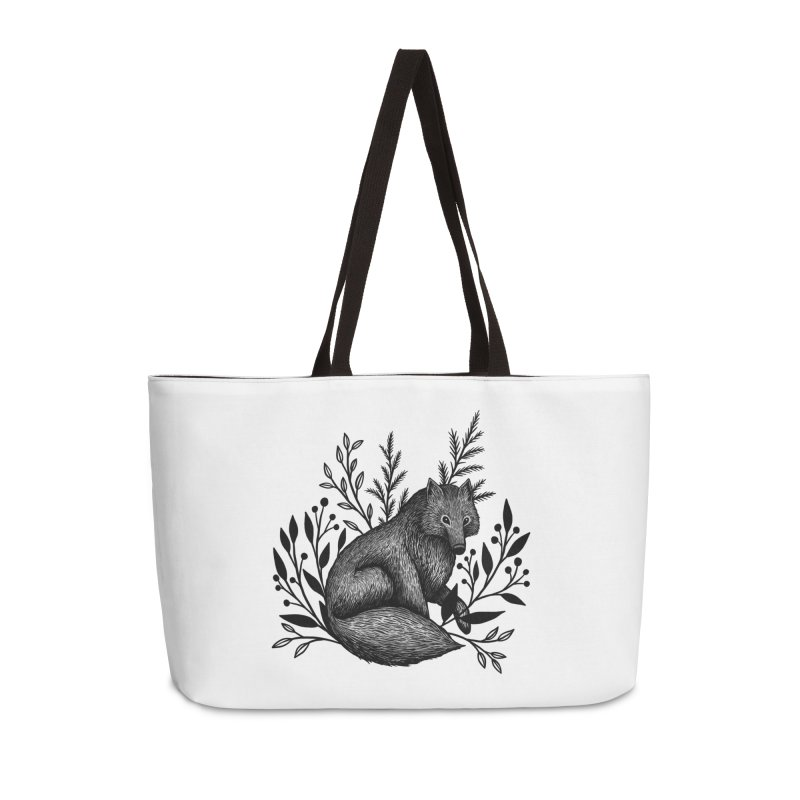 Woodland Wolf Accessories Weekender Bag Bag by Thistle Moon Artist Shop