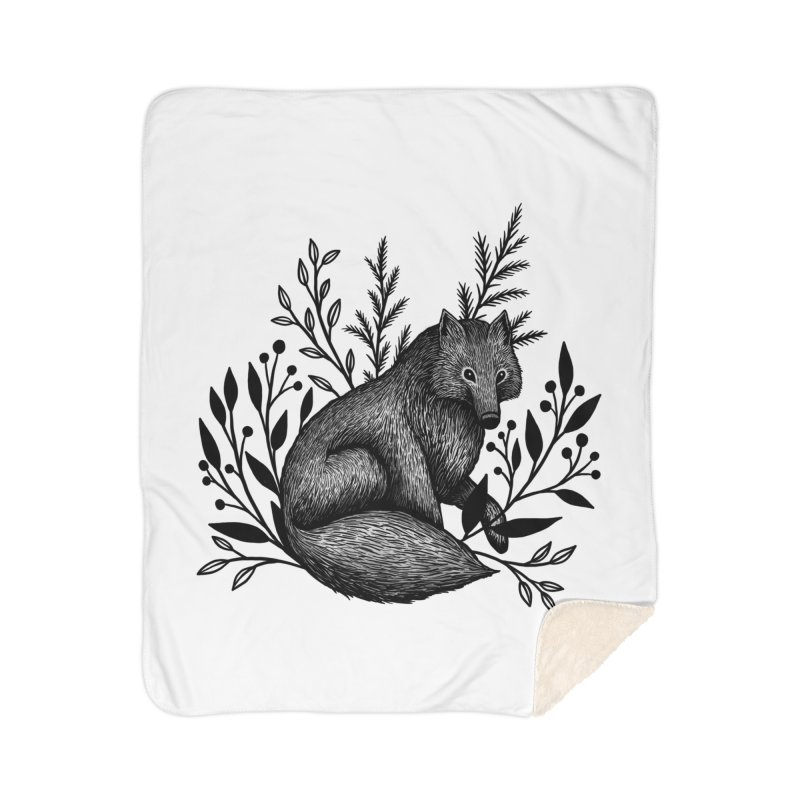 Woodland Wolf Home Sherpa Blanket Blanket by Thistle Moon Artist Shop