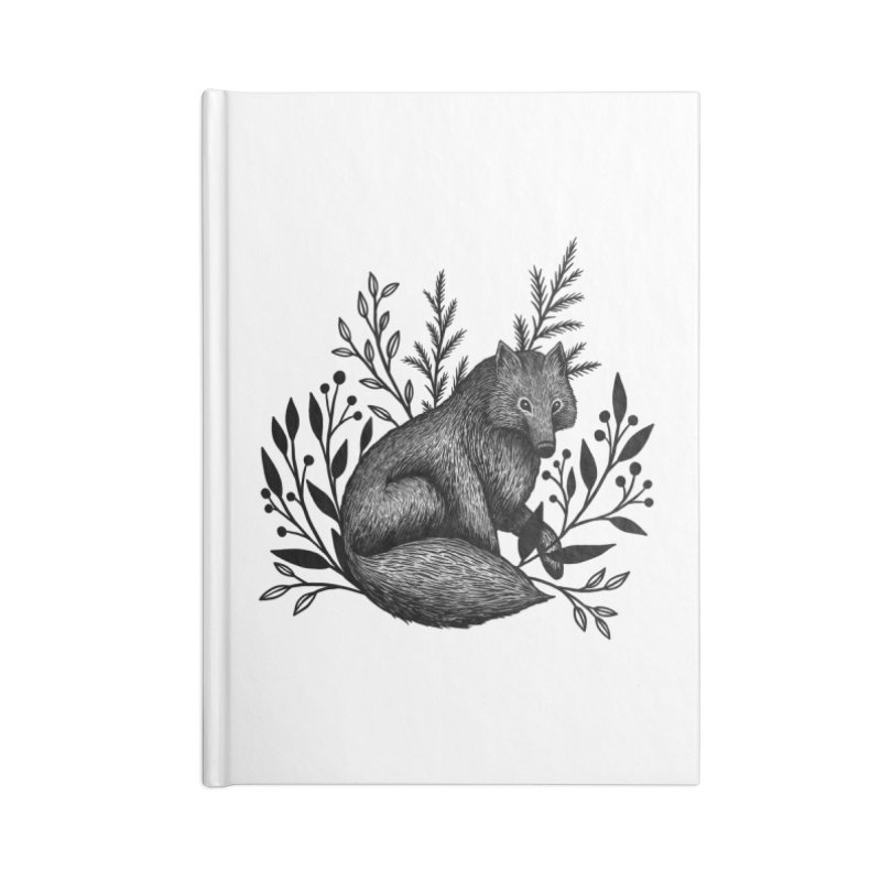 Woodland Wolf Accessories Lined Journal Notebook by Thistle Moon Artist Shop