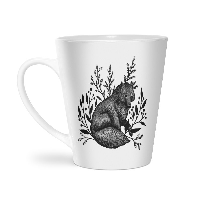 Woodland Wolf Accessories Latte Mug by Thistle Moon Artist Shop