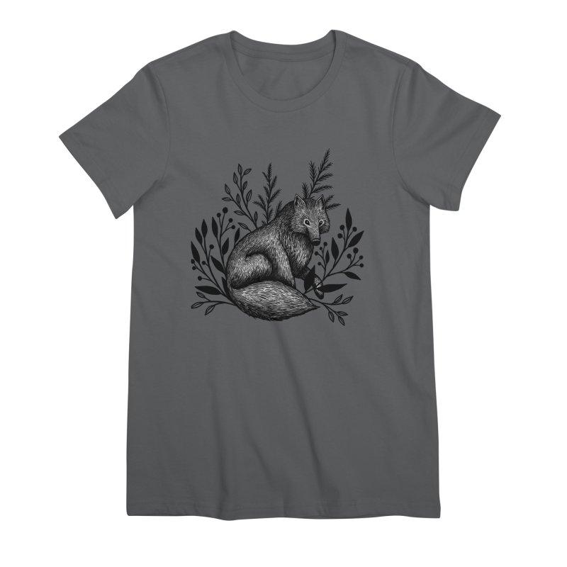 Woodland Wolf Women's Premium T-Shirt by Thistle Moon Artist Shop