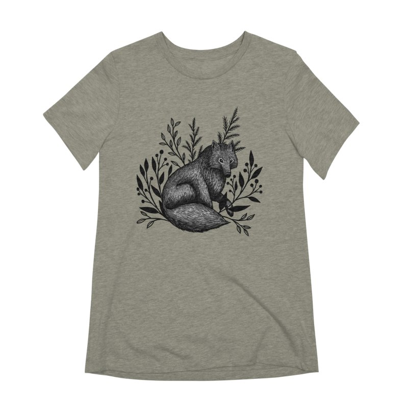 Woodland Wolf Women's Extra Soft T-Shirt by Thistle Moon Artist Shop