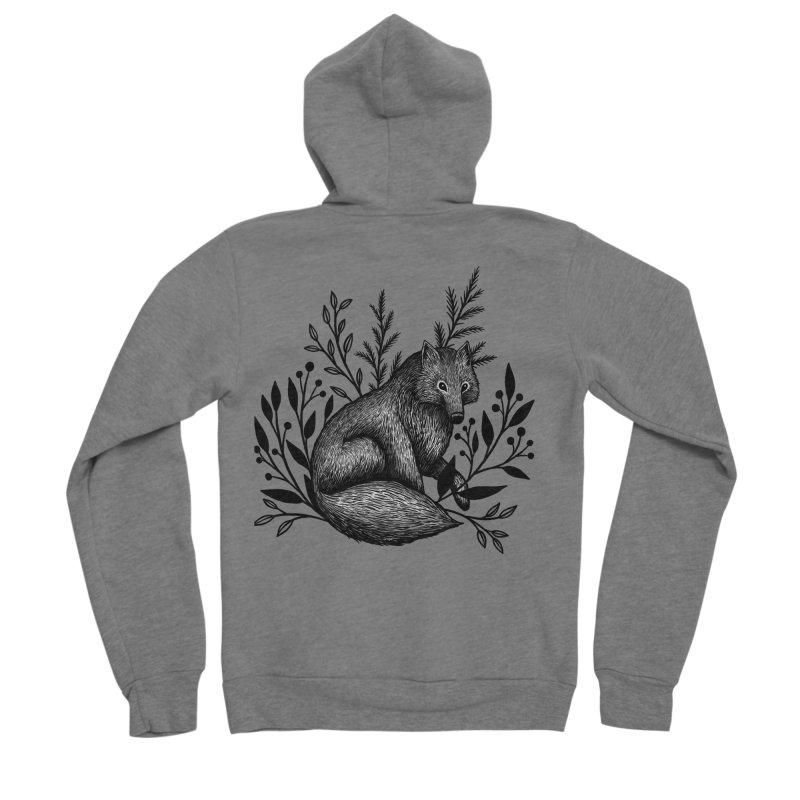 Woodland Wolf Men's Sponge Fleece Zip-Up Hoody by Thistle Moon Artist Shop