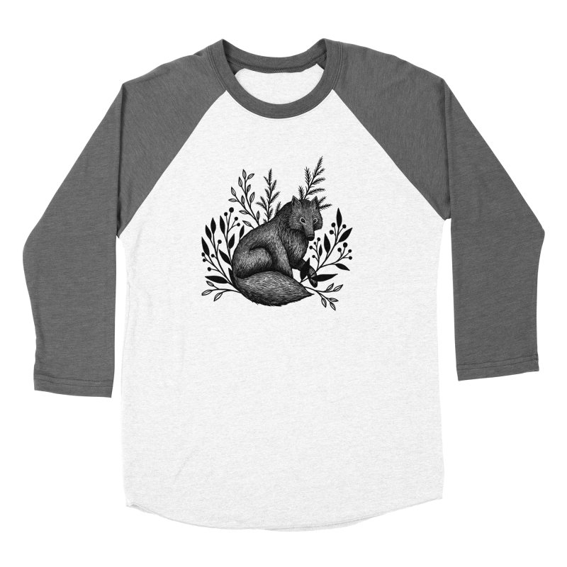 Woodland Wolf Women's Baseball Triblend Longsleeve T-Shirt by Thistle Moon Artist Shop