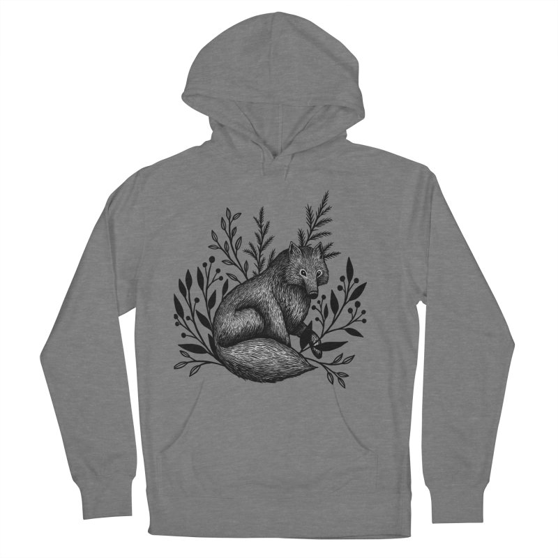 Woodland Wolf Men's French Terry Pullover Hoody by Thistle Moon Artist Shop