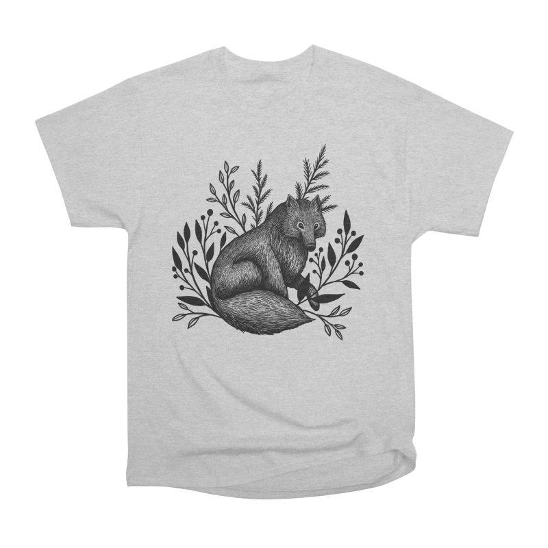 Woodland Wolf Men's Heavyweight T-Shirt by Thistle Moon Artist Shop