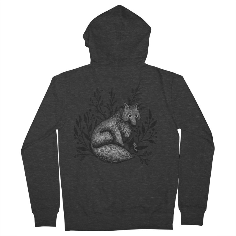 Woodland Wolf Women's French Terry Zip-Up Hoody by Thistle Moon Artist Shop