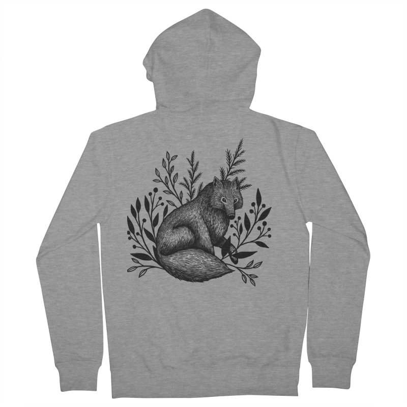 Woodland Wolf Men's French Terry Zip-Up Hoody by Thistle Moon Artist Shop