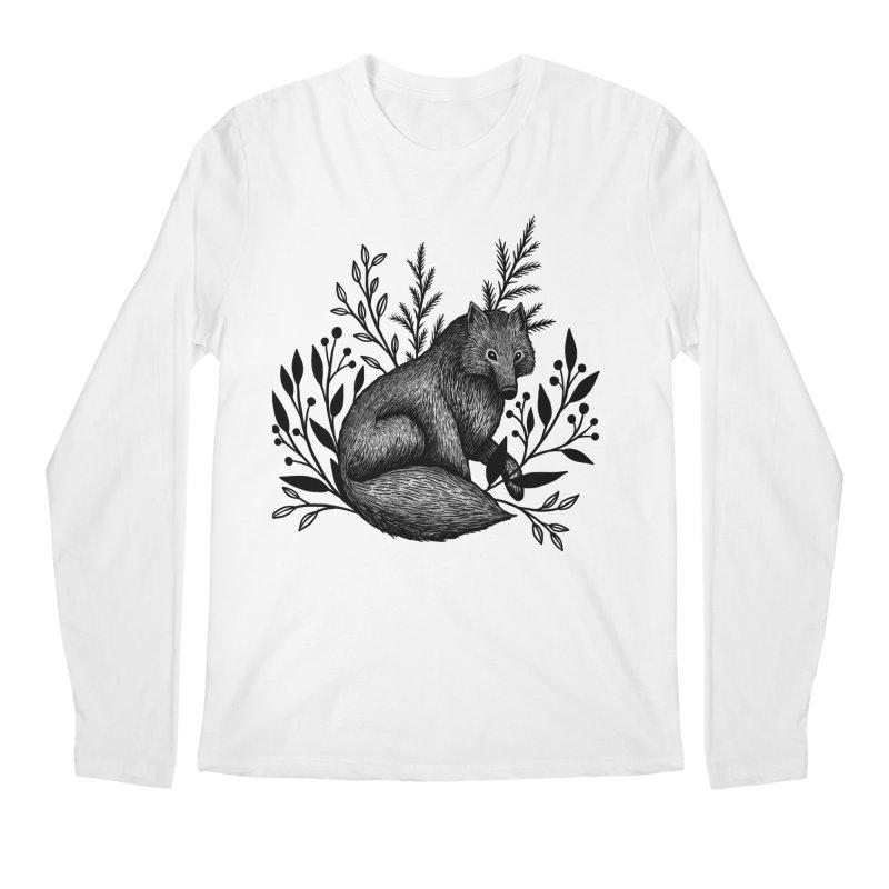 Woodland Wolf Men's Regular Longsleeve T-Shirt by Thistle Moon Artist Shop