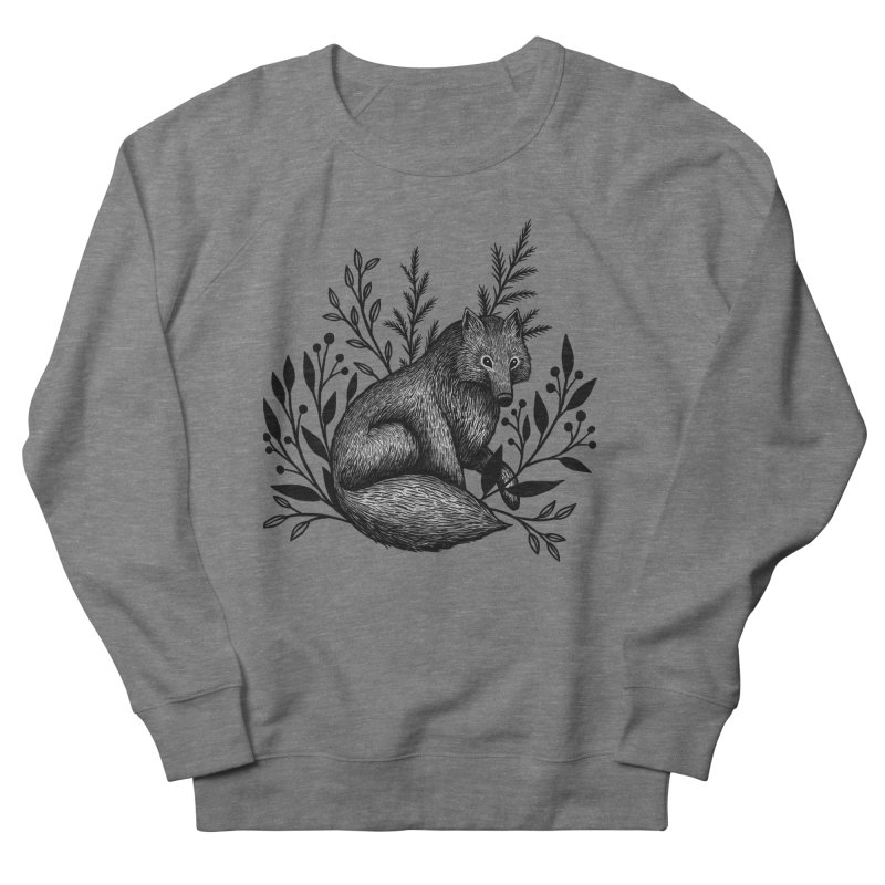 Woodland Wolf Men's French Terry Sweatshirt by Thistle Moon Artist Shop