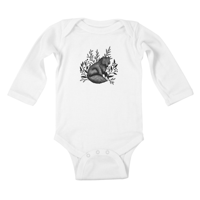Woodland Wolf Kids Baby Longsleeve Bodysuit by Thistle Moon Artist Shop
