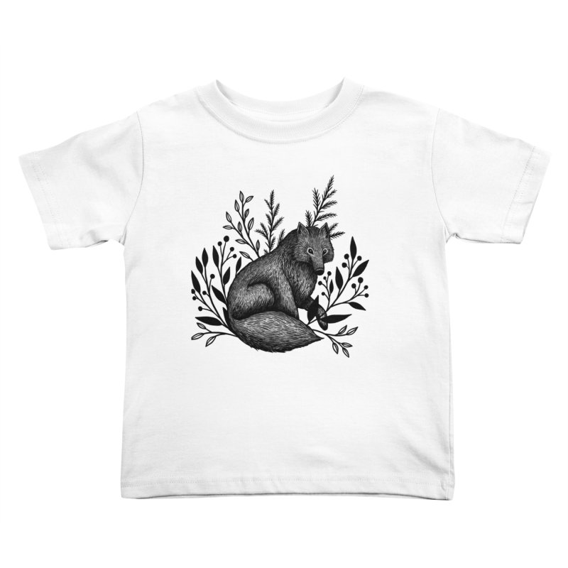 Woodland Wolf Kids Toddler T-Shirt by Thistle Moon Artist Shop