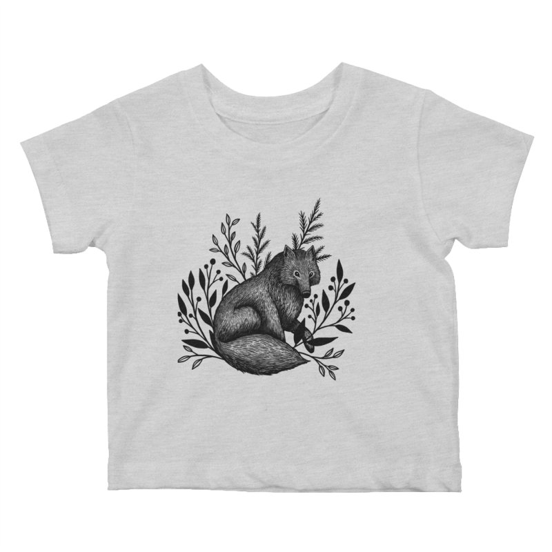 Woodland Wolf Kids Baby T-Shirt by Thistle Moon Artist Shop