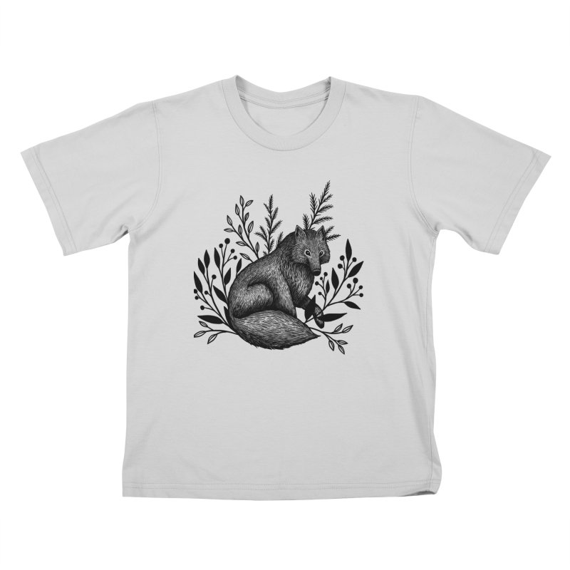 Woodland Wolf Kids T-Shirt by Thistle Moon Artist Shop