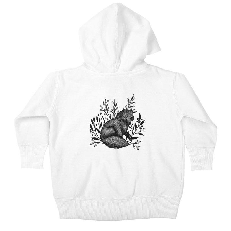 Woodland Wolf Kids Baby Zip-Up Hoody by Thistle Moon Artist Shop
