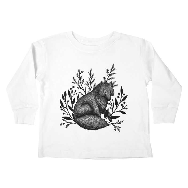 Woodland Wolf Kids Toddler Longsleeve T-Shirt by Thistle Moon Artist Shop