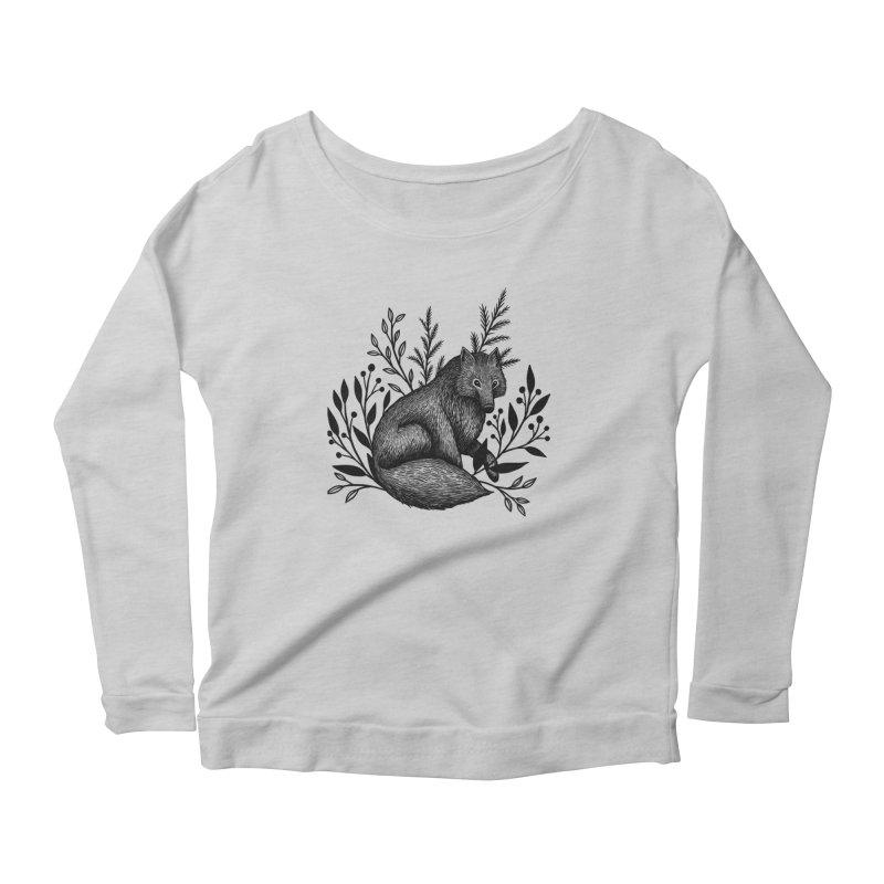 Woodland Wolf Women's Scoop Neck Longsleeve T-Shirt by Thistle Moon Artist Shop