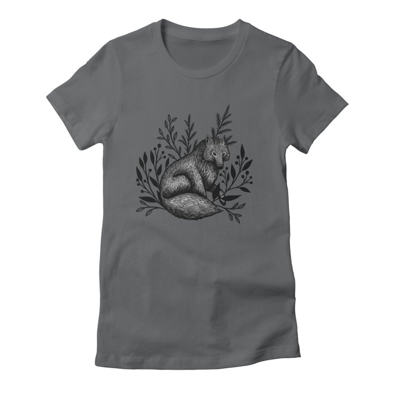 Woodland Wolf Women's Fitted T-Shirt by Thistle Moon Artist Shop
