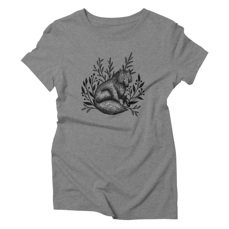 Woodland Wolf Women's Triblend T-Shirt by Thistle Moon Artist Shop