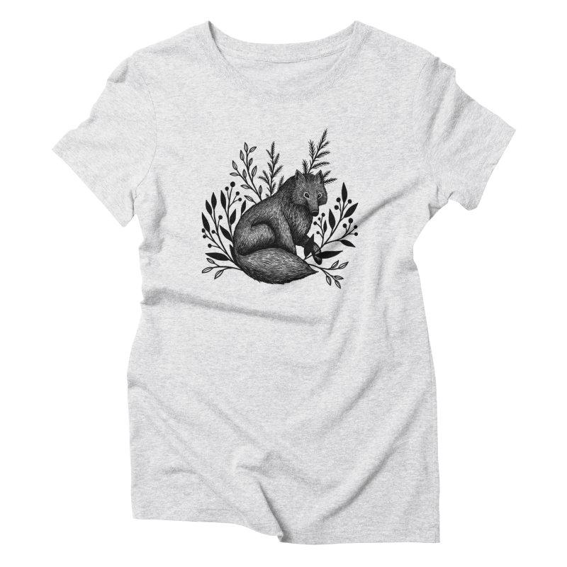 Woodland Wolf Women's Triblend T-Shirt by Thistle Moon Artist Shop
