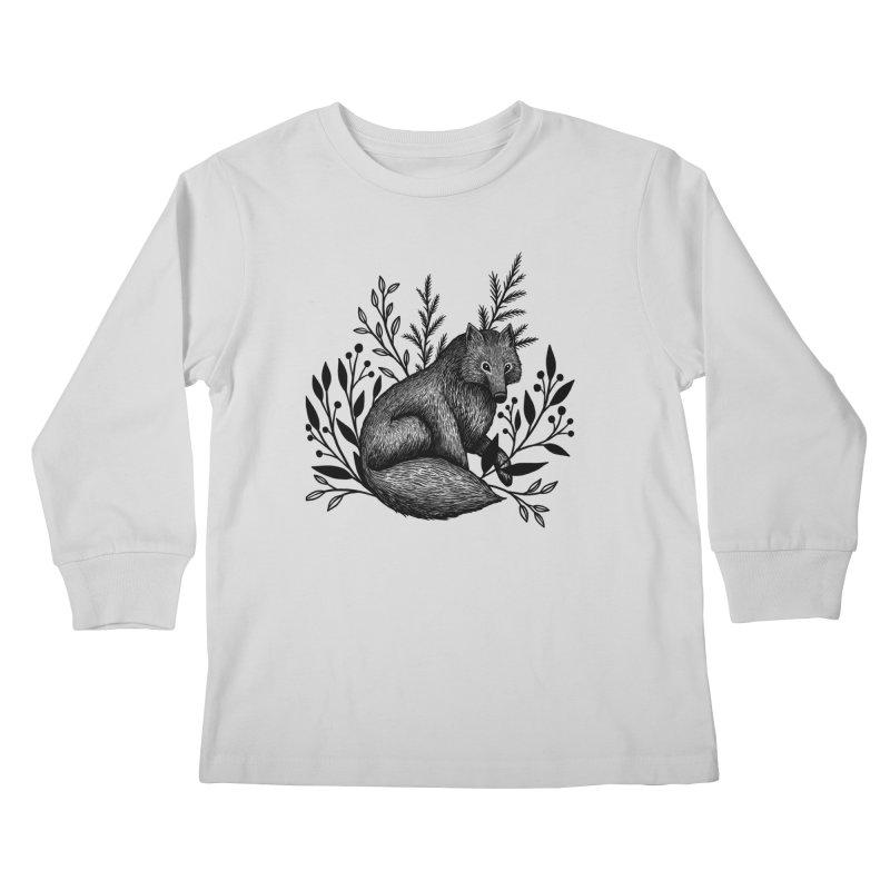 Woodland Wolf Kids Longsleeve T-Shirt by Thistle Moon Artist Shop