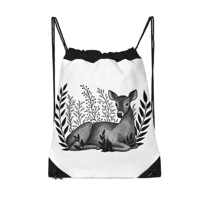 Sleepy Deer Accessories Drawstring Bag Bag by Thistle Moon Artist Shop