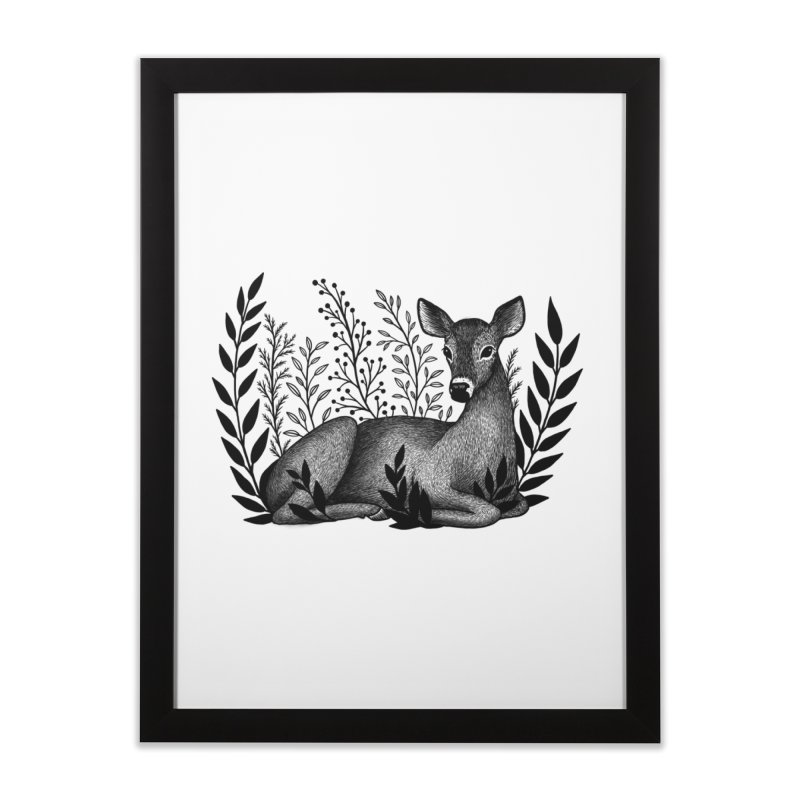 Sleepy Deer Home Framed Fine Art Print by Thistle Moon Artist Shop