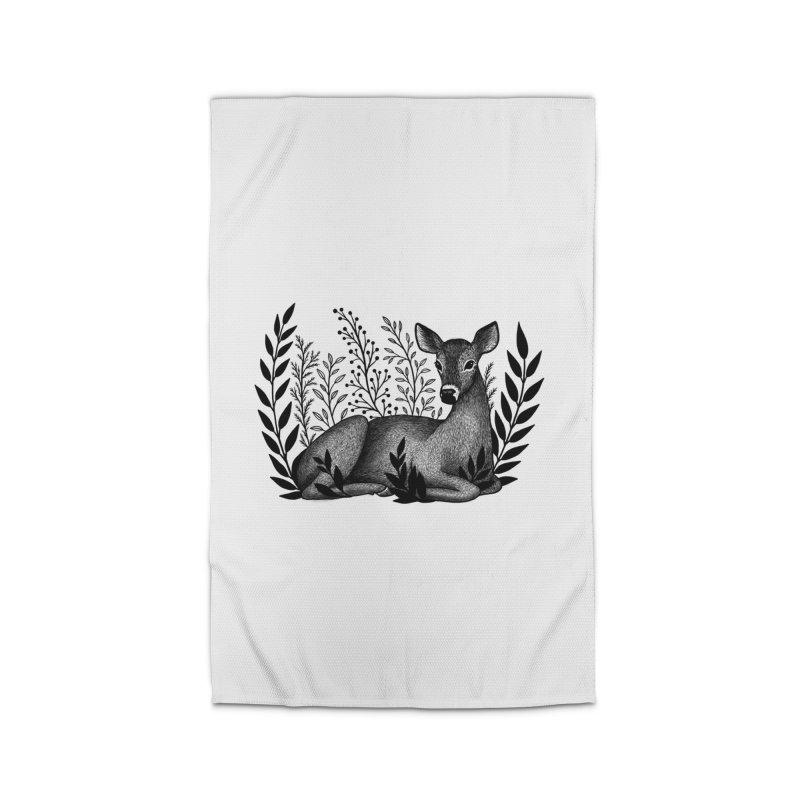 Sleepy Deer Home Rug by Thistle Moon Artist Shop
