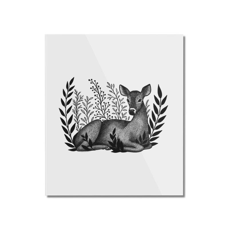 Sleepy Deer Home Mounted Acrylic Print by Thistle Moon Artist Shop