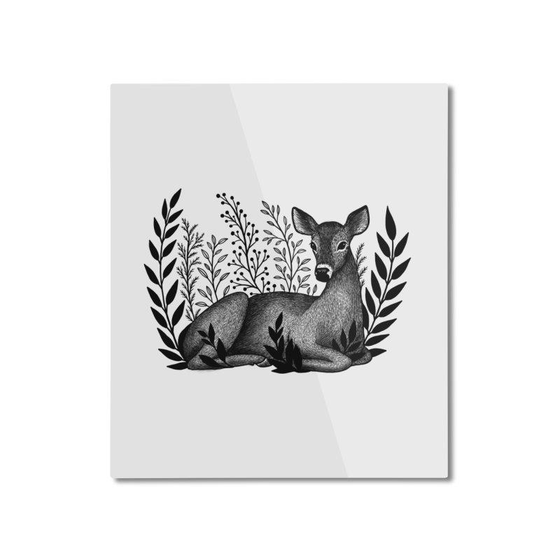 Sleepy Deer Home Mounted Aluminum Print by Thistle Moon Artist Shop