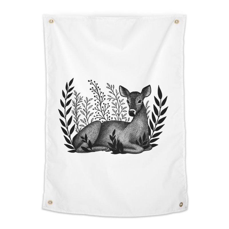 Sleepy Deer Home Tapestry by Thistle Moon Artist Shop