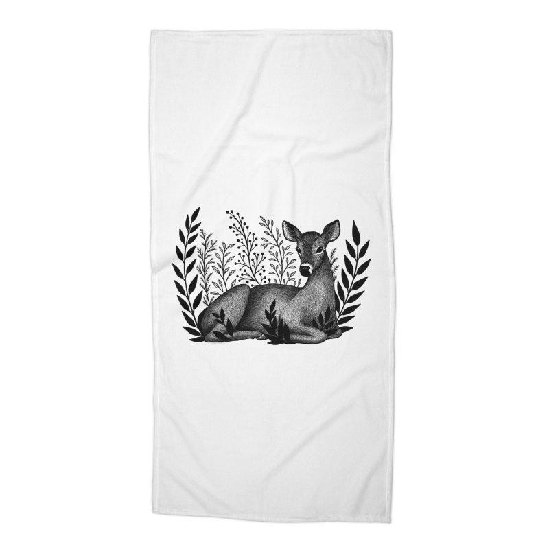 Sleepy Deer Accessories Beach Towel by Thistle Moon Artist Shop