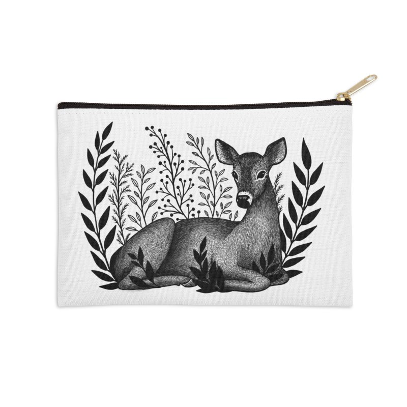 Sleepy Deer Accessories Zip Pouch by Thistle Moon Artist Shop