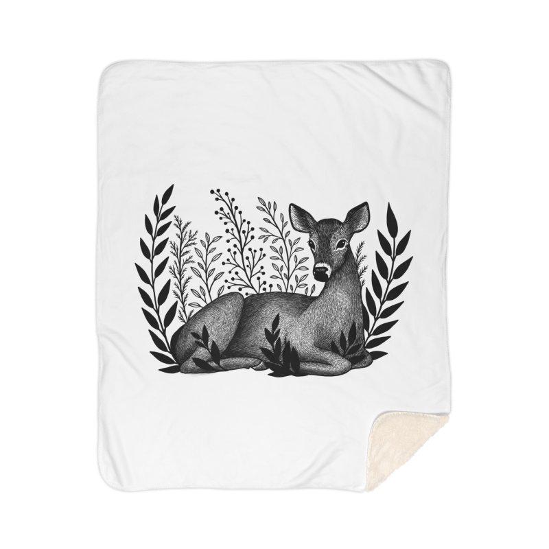 Sleepy Deer Home Sherpa Blanket Blanket by Thistle Moon Artist Shop