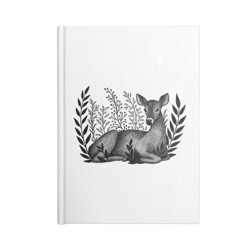 Sleepy Deer Accessories Blank Journal Notebook by Thistle Moon Artist Shop