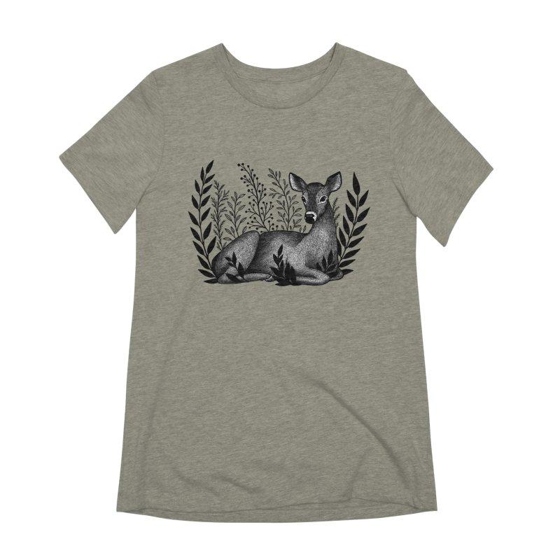 Sleepy Deer Women's Extra Soft T-Shirt by Thistle Moon Artist Shop