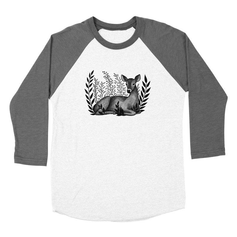 Sleepy Deer Women's Baseball Triblend Longsleeve T-Shirt by Thistle Moon Artist Shop