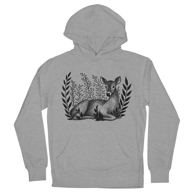 Sleepy Deer Women's French Terry Pullover Hoody by Thistle Moon Artist Shop