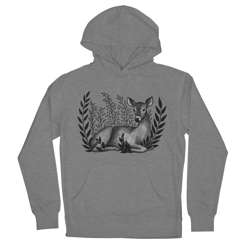 Sleepy Deer Men's French Terry Pullover Hoody by Thistle Moon Artist Shop