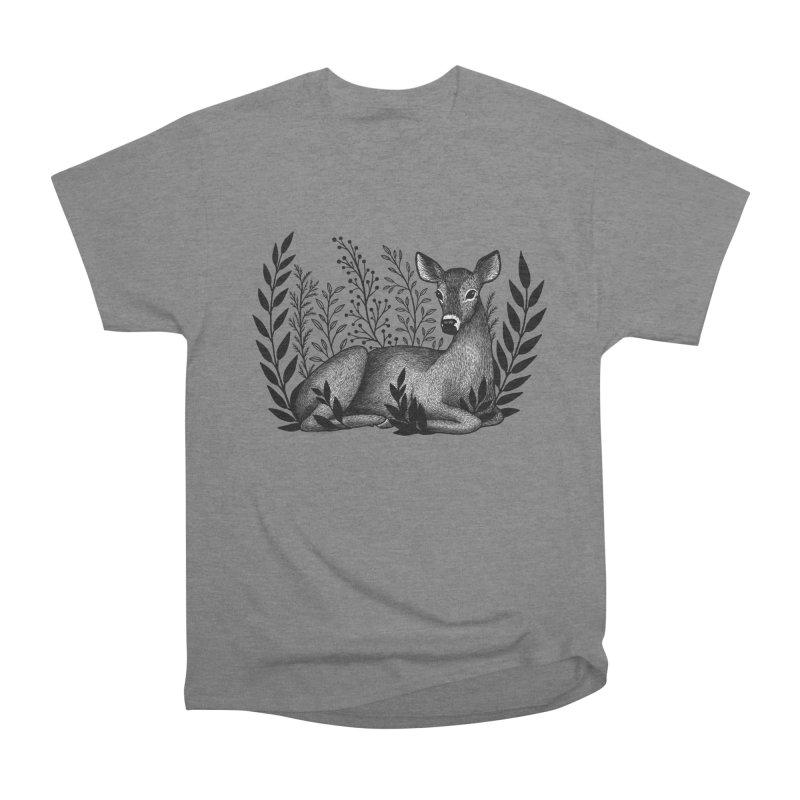 Sleepy Deer Women's Heavyweight Unisex T-Shirt by Thistle Moon Artist Shop