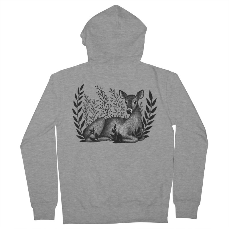 Sleepy Deer Men's French Terry Zip-Up Hoody by Thistle Moon Artist Shop