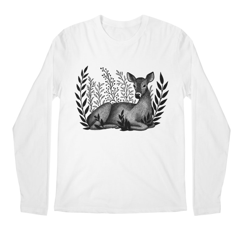 Sleepy Deer Men's Regular Longsleeve T-Shirt by Thistle Moon Artist Shop