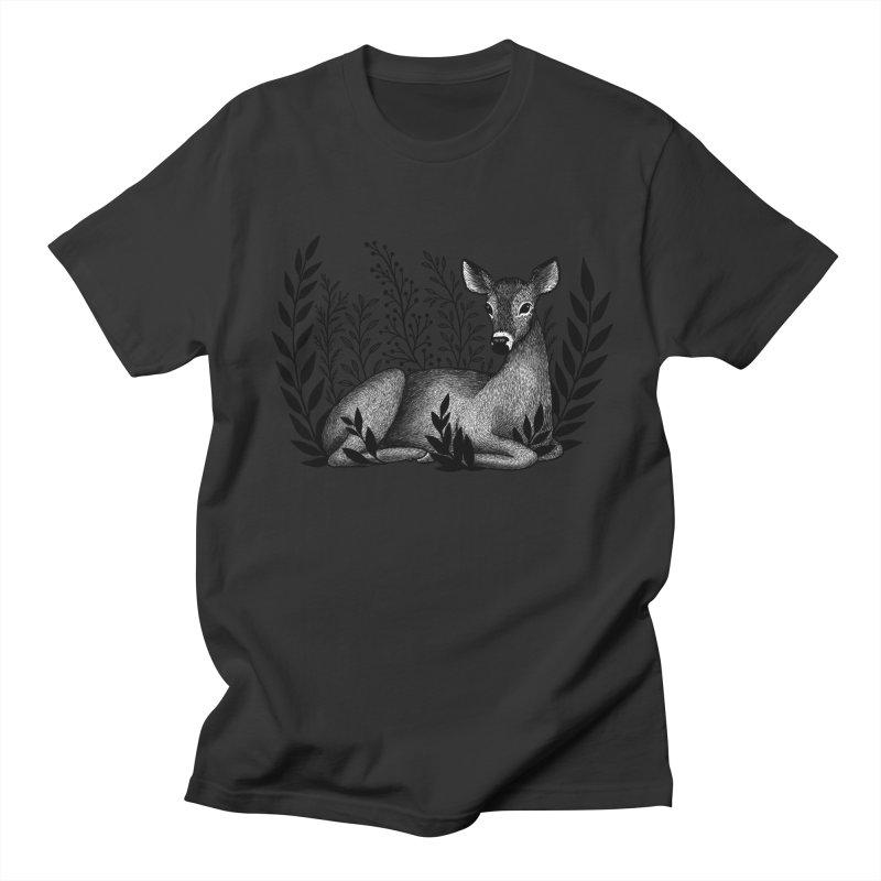Sleepy Deer Men's Regular T-Shirt by Thistle Moon Artist Shop