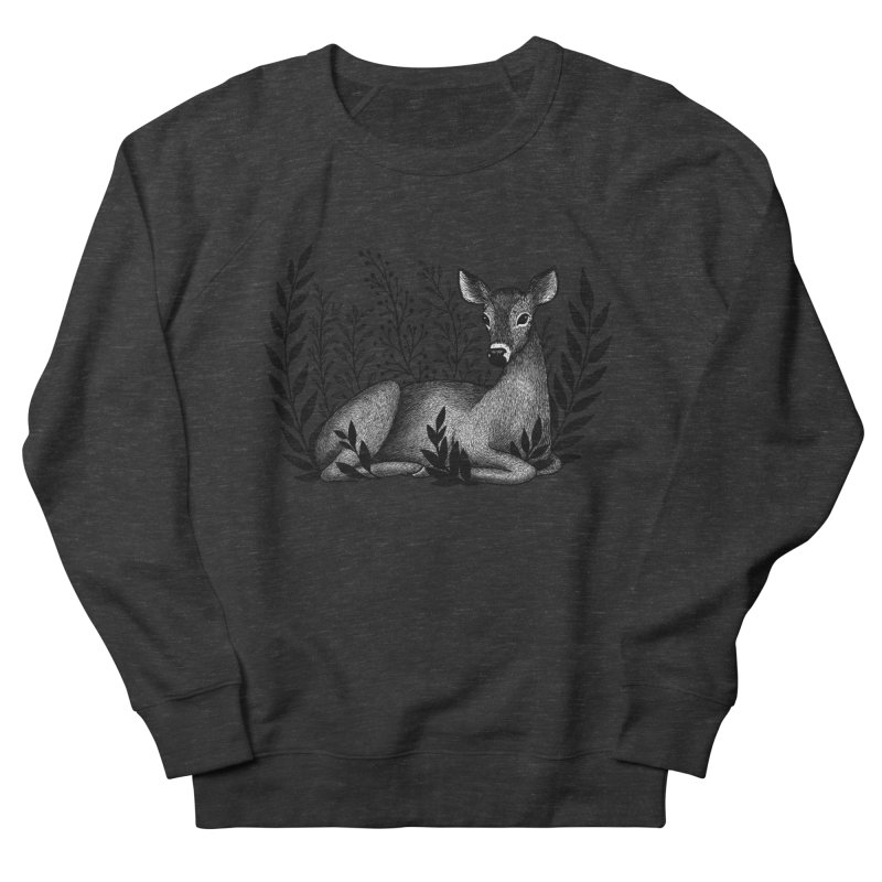 Sleepy Deer Women's French Terry Sweatshirt by Thistle Moon Artist Shop